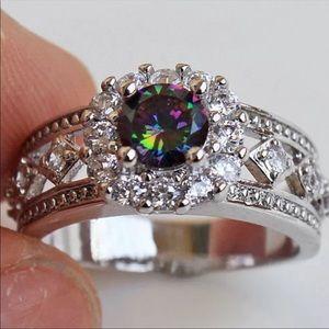 Women's Topaz 18K white gold filled ring